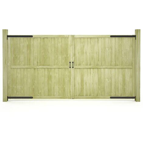 vidaXL Puertas de valla madera de pino impregnada 2 uds 300x150cm - Verde