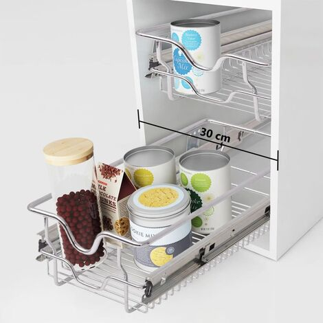 vidaXL Pull-Out Wire Baskets 2 pcs Silver 300 mm - Silver