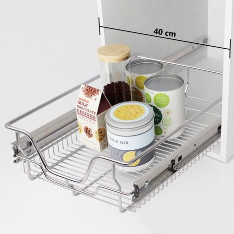 vidaXL Pull-Out Wire Baskets 2 pcs Silver 400 mm - Silver