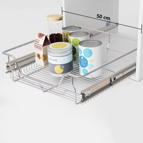 vidaXL Pull-Out Wire Baskets 2 pcs Silver 500 mm - Silver