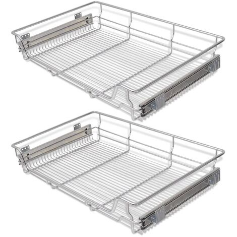 vidaXL Pull-Out Wire Baskets 2 pcs Silver 800 mm - Silver