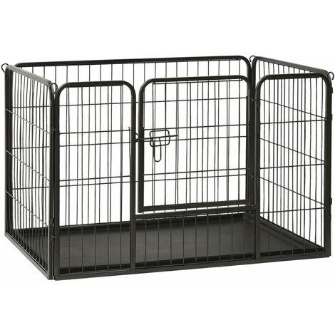 vidaXL Puppy Playpen Steel Pet Dog Kennel Enclosure 93x63x61cm/125x80x70 cm