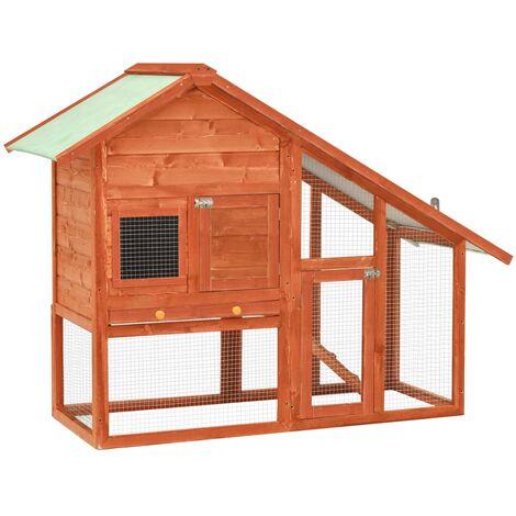 vidaXL Rabbit Hutch 140x63x120 cm Solid Firwood - Brown
