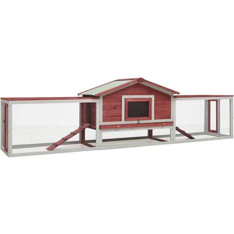 vidaXL Rabbit Hutch Red 303x60x86 cm Solid Pine & Fir Wood - Red