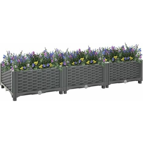 vidaXL Raised Bed 120x40x23 cm Polypropylene - Grey