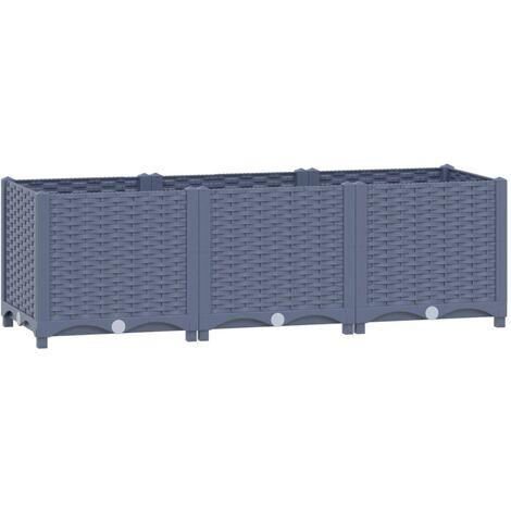 vidaXL Raised Bed 120x40x38 cm Polypropylene - Grey