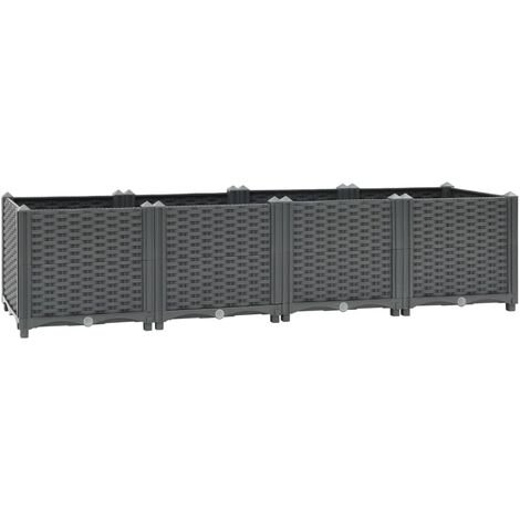 vidaXL Raised Bed 160x40x38 cm Polypropylene - Grey