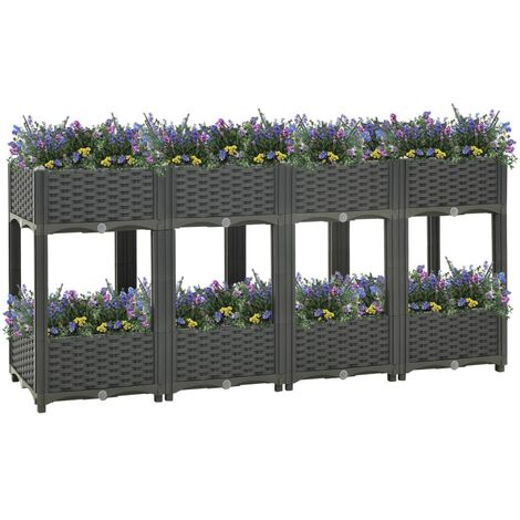 vidaXL Raised Bed 160x40x71 cm Polypropylene - Grey