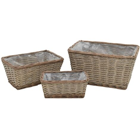 vidaXL Raised Bed 3 pcs Wicker with PE Lining - Brown