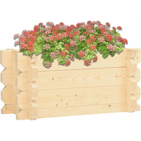 vidaXL Raised Bed 42 mm 100x50x47.3 cm Solid Spruce Wood - Brown