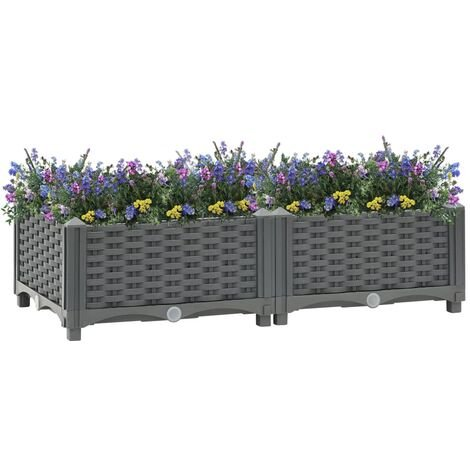 vidaXL Raised Bed 80x40x23 cm Polypropylene - Grey