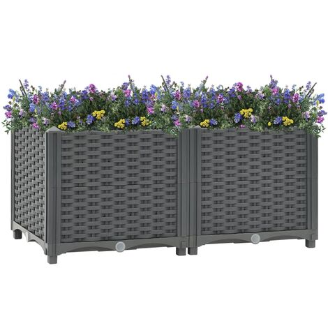 vidaXL Raised Bed 80x40x38 cm Polypropylene - Grey