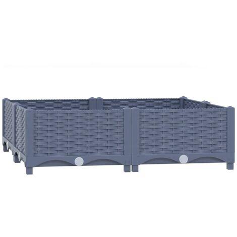 vidaXL Raised Bed 80x80x23 cm Polypropylene - Grey