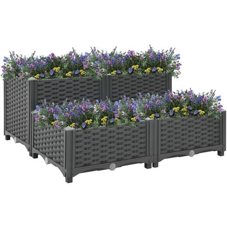 vidaXL Raised Bed 80x80x38 cm Polypropylene - Grey