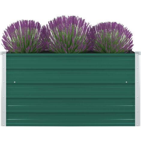 vidaXL Raised Garden Bed 100x100x45 cm Galvanised Steel Green - Green