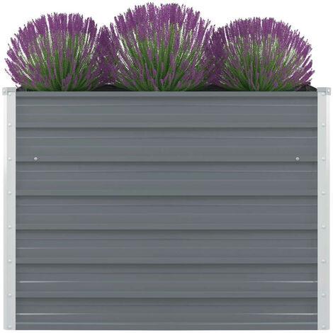 vidaXL Raised Garden Bed 100x100x77 cm Galvanised Steel Grey - Grey