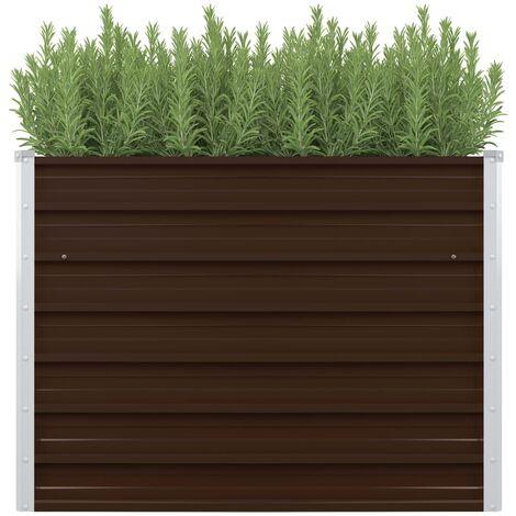 vidaXL Raised Garden Bed Brown 100x100x77 cm Galvanised Steel - Brown