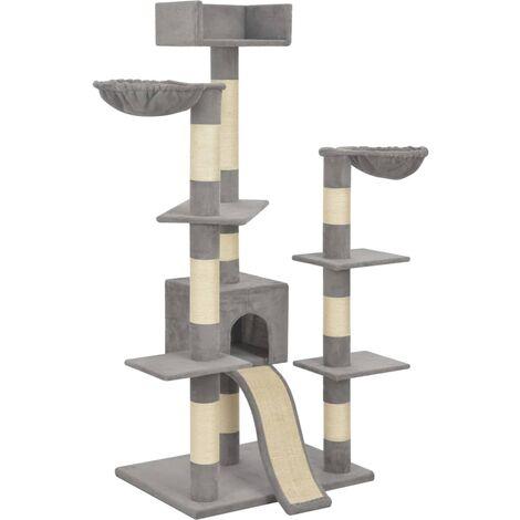 vidaXL Rascador para gatos con postes de sisal gris 183 cm XXL - Gris