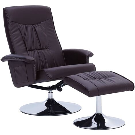 vidaXL Recliner Chair with Footstool Brown Faux Leather - Brown