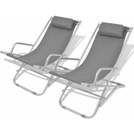 vidaXL Reclining Deck Chairs 2 pcs Steel Grey - Grey