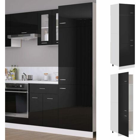 vidaXL Refrigerator Cabinet High Gloss Black 60x57x207 cm Chipboard - Black