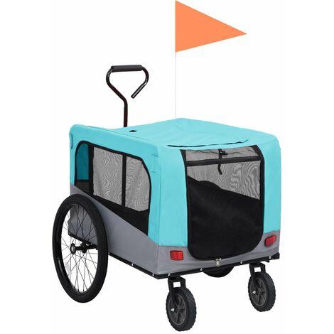 vidaXL Remolque carro de bicicleta mascotas 2 en 1 azul y gris - Blu