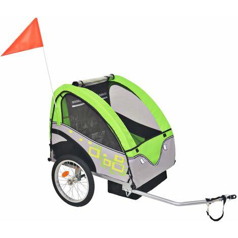 vidaXL Remolque de Bicicleta para Niños 30 kg Gris y Verde - Verde