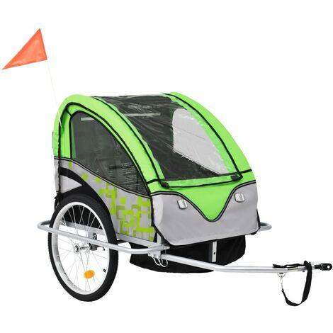 vidaXL Remorque à Vélo et Poussette pour Enfants 2-en-1 Pliable Remorque de Bicyclette Transport Poussette Chariot Tout-petit Extérieur Multicolore