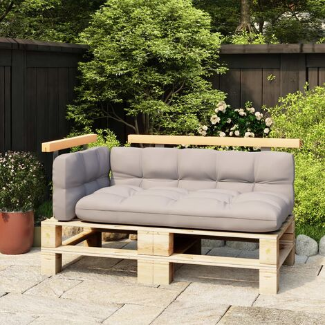 vidaXL Respaldos para sofá de palés 2 pzas madera maciza pino 110/70cm - Marrón