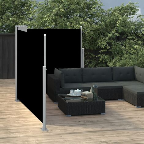 "main image of ""vidaXL Retractable Side Awning Black 100x600 cm - Black"""