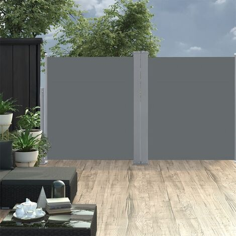 vidaXL Retractable Side Awning Black 100x600 cm - Black
