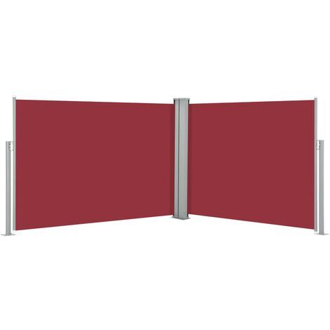 vidaXL Retractable Side Awning Red 100x1000 cm - Red