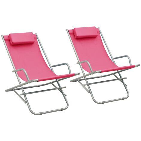 vidaXL Rocking Chairs 2 pcs Steel Pink - Pink