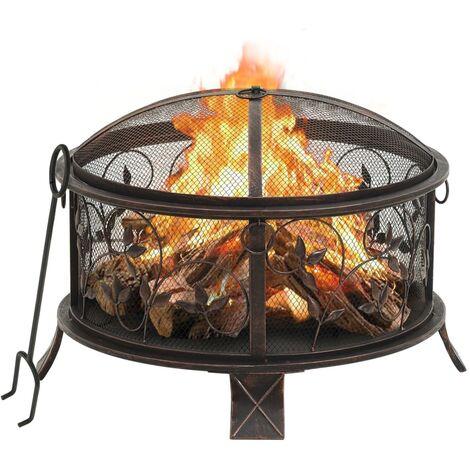 vidaXL Rustic Fire Pit with Poker 67.5 cm XXL Steel - Black
