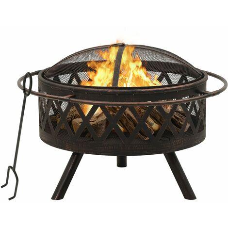 "main image of ""vidaXL Rustic Fire Pit with Poker 76 cm XXL Steel - Black"""