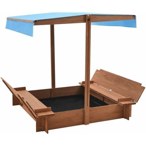 vidaXL Sandbox with Roof Firwood 122x120x123 cm - Brown