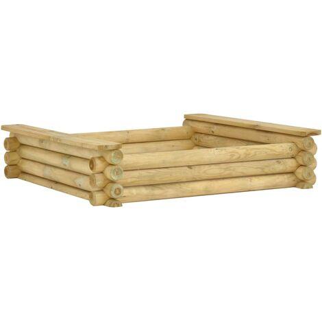 vidaXL Sandpit 120x120x27 cm Impregnated pinewood - Green