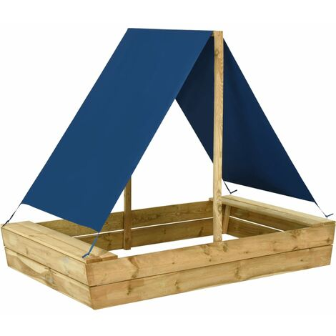 vidaXL Sandpit with Roof 160x100x133 cm Impregnated Pinewood - Green