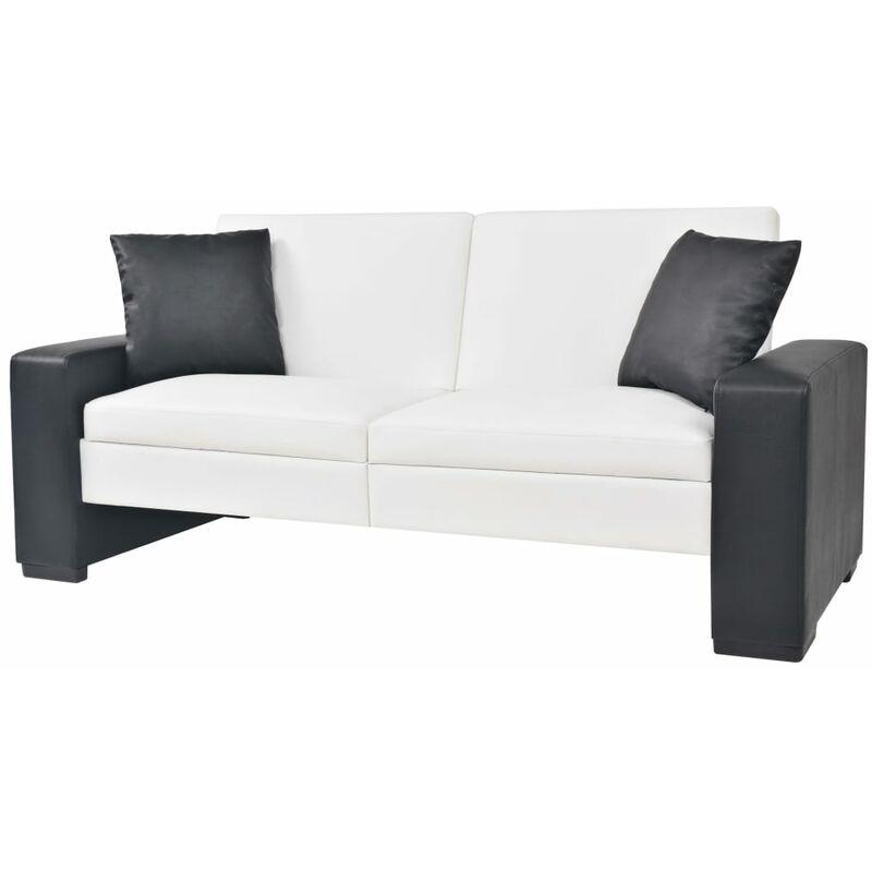 Schlafsofa mit Armlehnen PVC Verstellbar Weiß