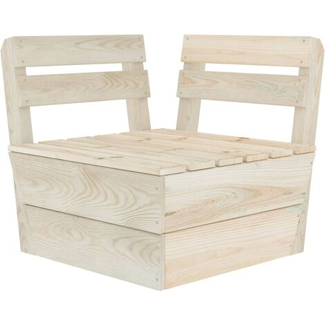 vidaXL Sectional Pallet Corner Sofa Impregnated Spruce Wood - Brown