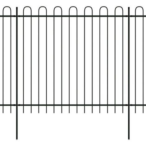 vidaXL Security Palisade Fence with Hoop Top Steel Black Patio Panel Garden Fence Landscape Bed Border Outdoor Area Safety 175/200 cm