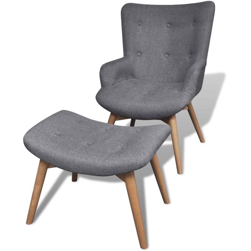Sessel mit Fußhocker Grau Stoff - VIDAXL
