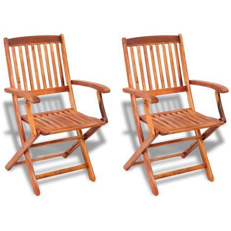 Sedie Per Esterno In Legno.Vidaxl Set 2 Pz Sedie Da Esterno In Legno Di Acacia