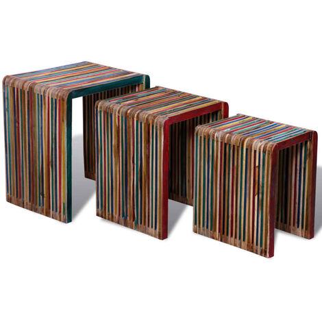 vidaXL Set de 3 Mesitas Apilables Auxiliar Consola Mesilla Mesita Salón Sala de Estar Lateral Sofá Hogar Madera Maciza Reciclada Multicolor