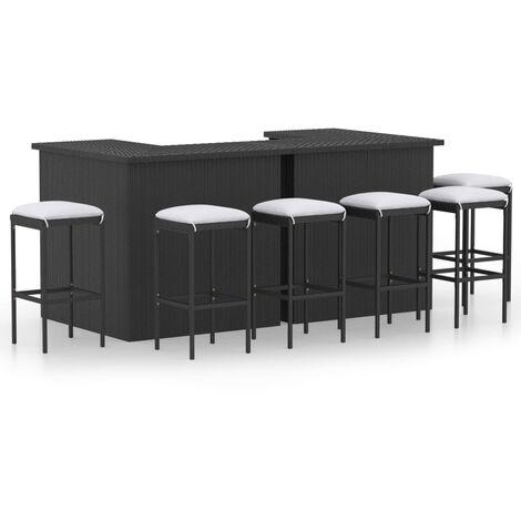 vidaXL Set de bar para jardín 8 piezas y cojines ratán sintético negro - Negro
