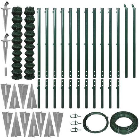 vidaXL Set de cerca de alambre con anclas de punta 1.97x25m verde