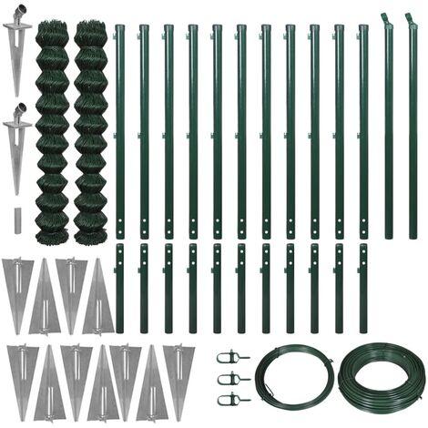 vidaXL Set de cerca de alambre con anclas de punta verde 1,97x25 m - Verde