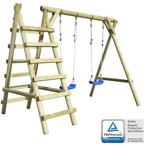 vidaXL Set de columpios con escaleras 268x154x210cm madera de pino FSC