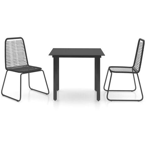 vidaXL Set de comedor de jardín de 3 piezas PVC ratán negro - Negro