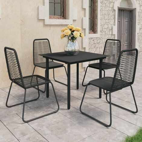 vidaXL Set de comedor de jardín de 5 piezas PVC ratán negro - Negro